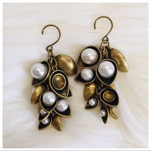 Chloe + Isabel Gold Pearl Antique Dangle Earrings